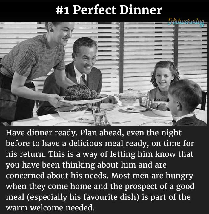 1950s ad teaching housewives how to prepare the perfect dinner for husband