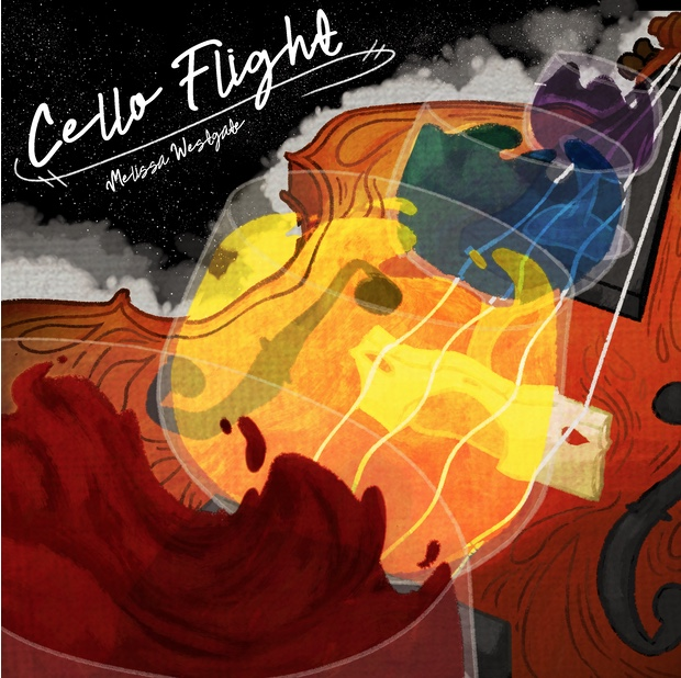 Abstract cover art of a cello with yellows, maroon, blues, and purples