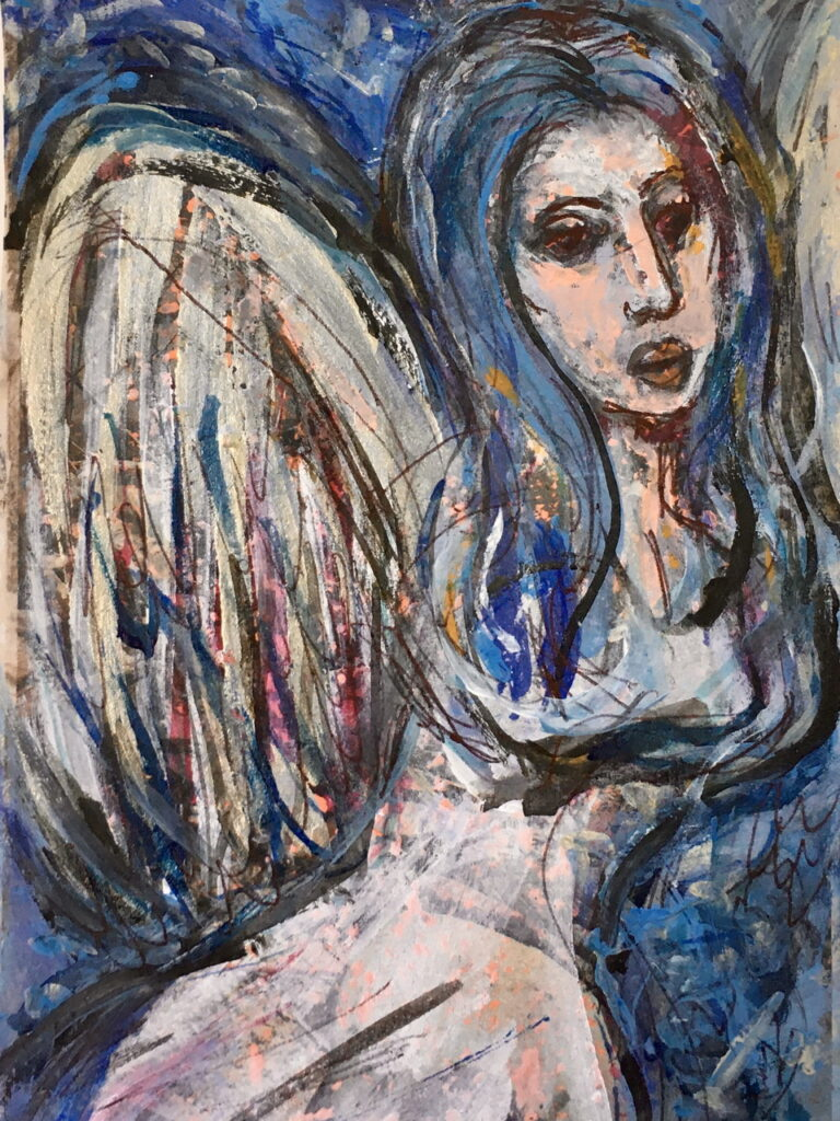 acrylic abstract painting of angel with long blue hair