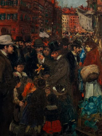 painting of a busy pedestrian street NYC 1905
